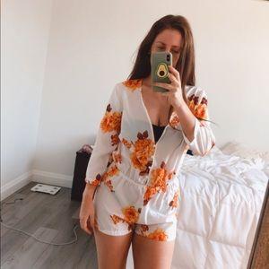 Sheer Floral Long Sleeve Short Romper
